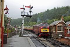 D821 Greyhound (paul_braybrook) Tags: warship class42 levisham nymr northyorkshiremoors diesel hydraulic heritage signals semaphores railway trains