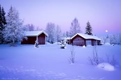 Lappish houses - Sweden (Elanor82) Tags: canon 5d mark3 mk3 1635 usm lapland lapponia lappi sweden svezia sverige snow winter moon neve inverno luna sunset tramonto colours colori cielo sky