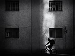 the biker (Sandy...J) Tags: street streetphotography sw schwarzweis strasenfotografie stadt silhouette shadow light blackwhite bw biker bicycle monochrom man wall window olympus noir urban fotografie photography mood stimmung germany deutschland