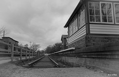 The end of the line. (Lee1885) Tags: trainline station hadlow historic mono track railway rail bw wirral wilaston