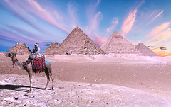 Pyramids of Giza (*Twas Brillig*) Tags: cairo egypt pyramidsofgiza sunset camel desert landscape architecture africa portrait