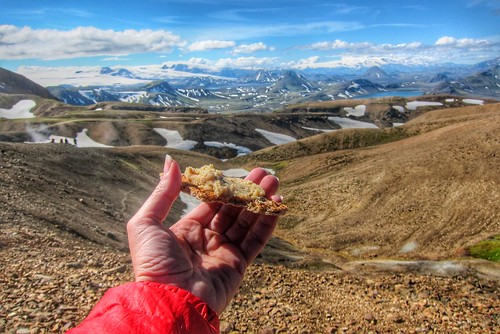 Iceland ~ Landmannalaugar Route ~  Ultramarathon is held on the route each July ~ Hiking from Camp -  Lava  field - Have a snack