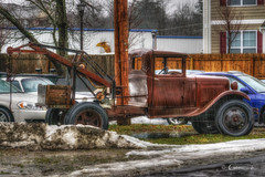 Wrecker in the Rain (* Gemini-6 *) Tags: rust decay patina ford transportation truck automobile vehicle wrecker rain snow winter hdr towtruck wet hss