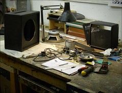 Messing about on the bench. 2019. (Dave Whatt) Tags: bench amplifiers workbench busy technicalstuff electrics speakers messingabout ampsandthings