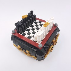 Steampunk Mini Chess (Corvus Auriac MOCs) Tags: lego afol designer program bricklink moc chess boardgame king queen tower horse bishop design style steampunk