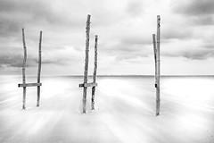 Pier (Rense Haveman) Tags: fujix100t rensehaveman vlieland vliehors pier bw blackwhite monochrome monochromelandscape clouds beach sandflat sand sea dunes wind wood