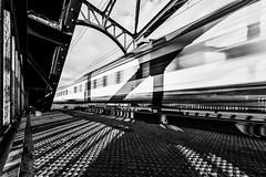 Speed (Leipzig_trifft_Wien) Tags: frankfurtammain hessen deutschland de train speed velocity bridge railway urban city steel structure light shadow