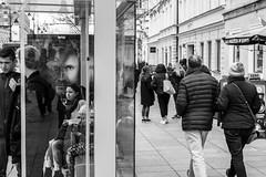 untitled (gregor.zukowski) Tags: warsaw warszawa street streetphoto streetphotography peopleinthecity candid blackandwhite blackandwhitestreetphotography bw urban advertisment monochrome fujifilm