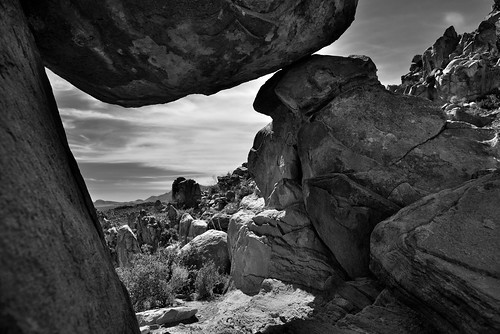 A Portal View Through a Group of Balanced Rocks (Black & White, Big Bend National Park)