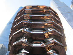 Vessel Stair Case Sculpture Dingus at Hudson Yards 4106 (Brechtbug) Tags: 2019 march visiting the vessel sculpture hudson yards tower near 34th street midtown manhattan new york city nyc 03172019 west side construction center cityscape architecture urban landscape scape view cityview shadow silhouette december close up skyline skyscraper railroad rail yard train amtrak tracks below grown stair stairs buildings above staircase dingus