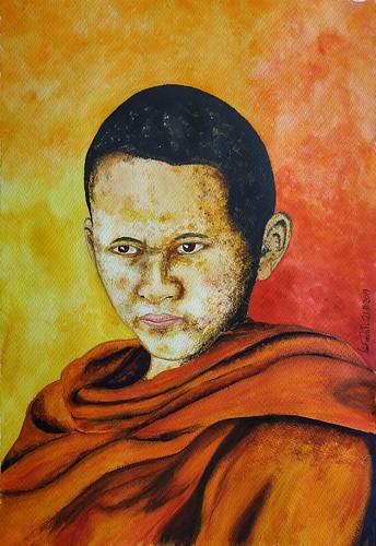 Pequeño Monje Budista Acuarela
