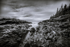 rockudrama (Port View) Tags: fujixe3 scotsbay novascotia canada 2018 fall autumn rock rocks rocky tide tidal water shore coast coastal coastline light sky clouds trees laowa9mm