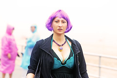 Mona Lisa IRL (kirstiecat) Tags: nyc woman stranger pinkhair punk mermaidparade female brooklyn coneyisland portrait street streetportrait beautiful striking newyorkcity usa america canon people purplehair