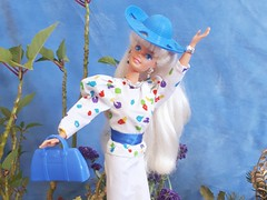 Custom Barbie Outfit 2: Spring Stroll (VintageZealot) Tags: barbie mattel 80s 1980s 90s 1990s angel princess 15911 1996 bright breezy 4532 1987 weekend collection 1527 1988 hat stand 1989 711 7237 wedding day fashion trunk 1991 native american 1753 1992 sparkle pretty 68060 1993 doll clothing clothes outfit spring stroll super star superstar model modelling white blonde caucasian ash velcro plastic snaps retro china blouse skirt belt royal blue pumps jewelry silver ring earrings bracelet handbag purse splotches dotw vintage earring
