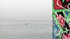 Into Mist (Rand Luv'n Life) Tags: odc our daily challenge pov point view wall graffiti kayak fisherman brilliant vibrant colors ocean mist water outdoor south mission beach jetty channel minimalism abstract expressionism art