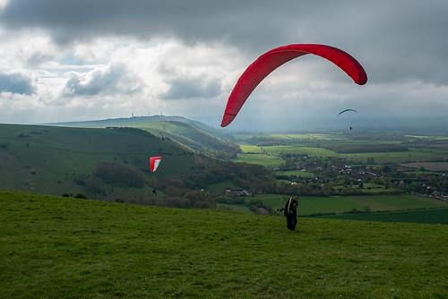 Red paraglider