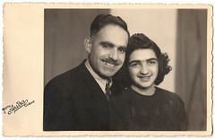 Vintage Photo 1940 Photo Postcard:  Armenian Couple (CHAIN12) Tags: vintage scan scanned photo bulgaria bulgarian armenian postcard rppc unibrow eyebrows ssllr1940rppcarmeniancoupleunibrow