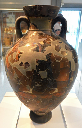 Burned Panathenaic amphora found at Isthmia, 1
