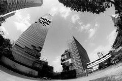 MahaNakhon (D. R. Hill Photography) Tags: mahanakhon building architecture tower tallest tall bangkok thailand asia southeastasia film analog analogue grain 135 35mmfilm fisheye wideangle nikon nikonfe2 fe2 manualfocus primelens samyang samyang12mmf28 samyang12mmf28asncsfisheye 12mm fujifilm acros fujifilmacros100 fujifilmneopanacros100 blackandwhite monochrome distortion