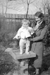 Standing in the bird bath (vintage ladies) Tags: vintage blackandwhite photograph photo birdbath child garden