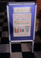 February 12th, 2019 Let's Make a Rainbow at Caversham Library (karenblakeman) Tags: cavershamlibrary caversham uk sign board letsmakearainbow aboard february 2019 2019pad reading berkshire