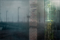 Displacements (Eva Haertel) Tags: eva haertel strase street fenster window reflection spiegelung verschiebung displacement säule column brickwall strasenlaternen streetlamps brücke bridge personen people stimmung mood atmosphäre atmosphere