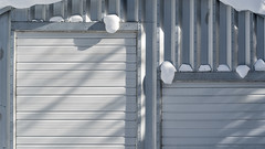 'Toy Box' (Canadapt) Tags: garage door snow winter siding metal rivets shadows quonset hut keefer canadapt
