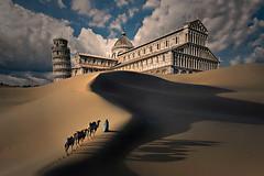 Carovana livornese in viaggio a Pisa (Zz manipulation) Tags: art ambrosioni zzmanipulation sabbia carovana deserto torre pisa livorno dune cielo duomo