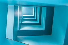 Blue staircase (bjoernahrensfotografie) Tags: münchen munich treppenhaus staircase stairs treppe abstrakt abstract blue lookup canoneosr canon canoneos geometrical rectangular rechteckig