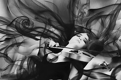 smoke dream (Mau Silerio) Tags: model tehillah engelbrecht modeling posing violin violinist bw black white music musical musician fashion surreal surrealism surrealisme player portrait