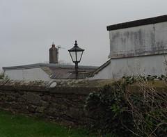 From St Mary's Churchyard steps (Phil Gayton) Tags: wall lamppost chimney building sky mist totnes devon uk grass ivy