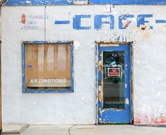 Cafe, Air Conditioned (garshna) Tags: sign print blue breakfast lunch dinner noparking airconditioned cafe abandoned derelict route66 door window essexcalifornia