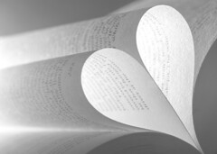 Paper Heart (Karen_Chappell) Tags: paper heart read reading love book bw blackandwhite macro stilllife words letters page