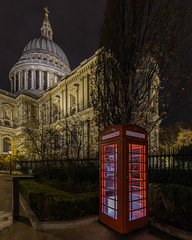 Alone (Sam Codrington) Tags: phonebox night building cathedral church thecity baroque telephonebox longexposurearchitecture outdoor longexposure dome red stpaulscathedral sirchristopherwren timeout canonstreet london timeoutlondon cloud stonegallery whisperinggallery architecture stpaulschurchyard churchofengland thecityoflondon ludgatehill londonist england unitedkingdom gb