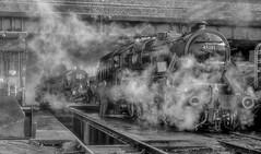Down at the Locomotive Depot (photofitzp) Tags: 45305 6960 atmosphere bw blackandwhite gcr locomotives loughborough railways smoke steam