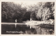 "NW Brethren Kaleva MI RPPC 1940s Fishing Fun on Bear Creek a tributary to the Big Manistee River possibly taken at the Spirit of the Woods Sportsmans Club Photographer UNK (UpNorth Memories - Donald (Don) Harrison) Tags: vintage antique postcard rppc ""don harrison"" ""upnorth memories"" upnorth memories upnorthmemories michigan history heritage travel tourism restaurants cafes motels hotels ""tourist stops"" ""travel trailer parks"" cottages cabins ""roadside"" ""natural wonders"" attractions usa puremichigan "" ""car ferry"" railroad ferry excursion boats ships bridge logging lumber michpics uscg uslss"