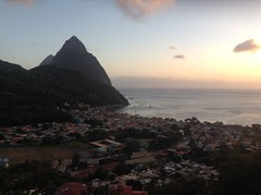 The Pitons and Soufriere - St Lucia (h_savill) Tags: 2019 february feb caribbean st lucia antilles windward isles holiday trip vacation exploreworldwide travel view landscape island soufriere piton tree green plant foliage stlucia town buildings bay sea water coast ocean hills