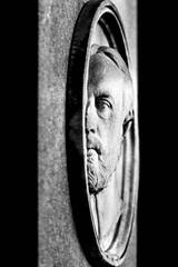 A little weak, a little pale today. (Alexander Dülks) Tags: relief basrelief friedhof monochrom 1990 mann cemetery sw alterfriedhof gesicht face monochrome graveyard man grabstein halbrelief flachrelief analog grabmal gravestone bw bonn germany burialground