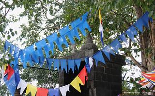 Blue flag decoration - Dambulla Caves Sri Lanka