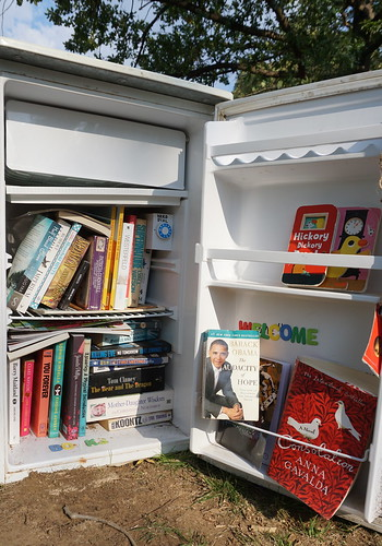 Barack Obama in a pop-up Library