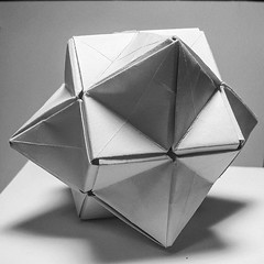 Compound Cube and Octohedra (Willow.D) Tags: geometric modular origami blackandwhite