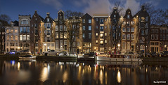 Amsterdam. (alamsterdam) Tags: amsterdam canal prinsengracht longexposure reflection architecture sky clouds boat cars bikes people