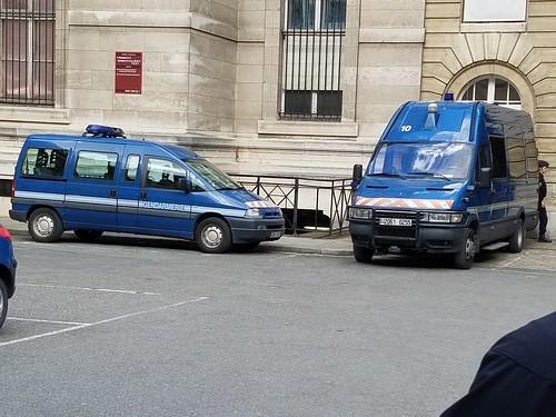 Paris France Gendarmerie Nationale Iveco van and a car