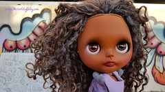 Farah (Motor City Dolly) Tags: custom ooak black blythe doll african american wensleydale reroot curls