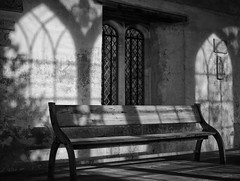 Gothic shadows (V Photography and Art) Tags: lightandshadow shadows gothic orangery knole nationaltrust bench texture wall