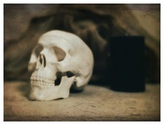 Skull and Candle (N.the.Kudzu) Tags: tabletop stilllife skull candle cheese cloth canoneosm lensbabytrio28 lightroom preset photoscape frame texture