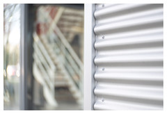 Stairs (leo.roos) Tags: golfplaat corrugatediron stairs staircase stairway tegeltiek denhaag thehague projectionlens projectorlens hugomeyerkinoniiisuperiorf65cm a7rii darosa leoroos meyerkinon65mm meyerkinon65cm