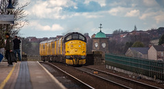 Colas Railfreight Class 37 no 37175 at Mansfield on 18-03-2019 with a Derby bound test train from High Marnham. (kevaruka) Tags: s class 37 syphon growler 37402 37425 drs direct rail services nuclear waste cnd british network english electric mansfield nottinghamshire winter 2019 march kevin frost gloom dull dreary day rain rainy railway railfreight trains train clouds cloudy cold flickr front page thephotographyblog telephoto canon eos 5d mk3 ef100400 f4556l 5d3 5diii colour colours color colors blue yellow outdoor railroad locomotive tree sky people photoadd boobs milf sexy wife 37175 colas