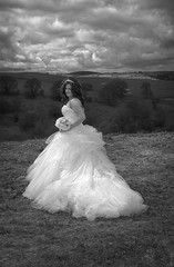 Hilltop Bride (scrimmy) Tags: weddingphotography weddingdress wedding bride bouquet shropshire hills blackwhite monochrome mono outdoors sky clouds
