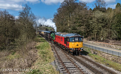 33021 & 3694 | Cheddleton | 6th April '19 (Frank Richards Photography) Tags: class33 class 33 whiston eastleigh cheddleton cvr steam staffordshire diesel sulzer crompton panasonic fz1000 pole 5 metre uk england leek froghall consall 33021 red post office april 6th 2019 spring rail staffs moorlands